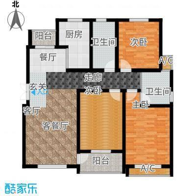 鸿运家园126.00㎡F户型3室2厅2卫X