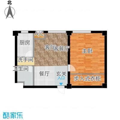 国民院子86.86㎡一室二厅一卫户型1室2厅1卫X