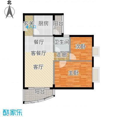世纪新潮豪园71.93㎡标准层E户型2室1厅1卫1厨
