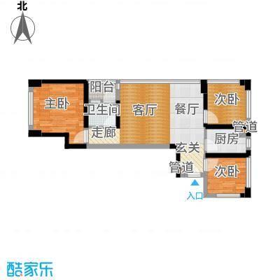 绿景香颂60.00㎡绿景香颂户型图C座F-G型3房2厅1卫60平方米(2/16张)户型3室2厅1卫