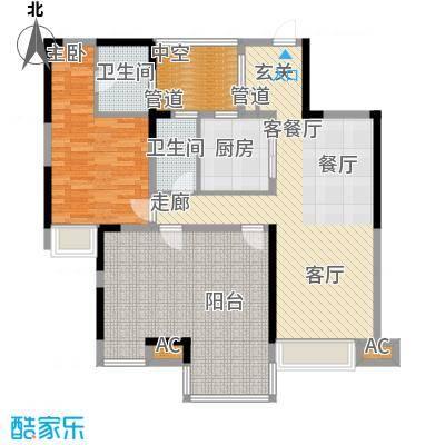 中信观澜凯旋城项目7-12栋标准层D户型3室2厅2卫1厨110.00㎡
