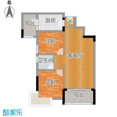 武汉锦绣香江79.00㎡C1-C3栋02/03单元改装前2室户型2室2厅1卫