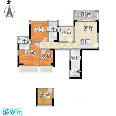 富通城十锦89.00㎡01型户型3室1厅2卫1厨