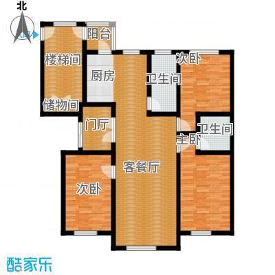 香江铂朗明珠123.69㎡高层H户型3室2厅2卫