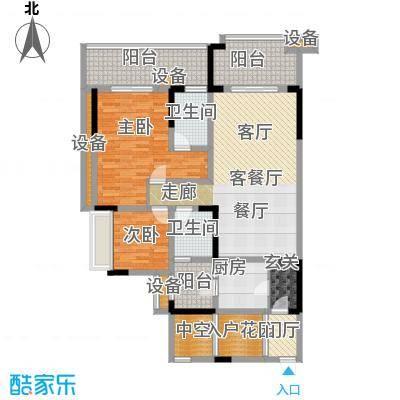 绿城上岛94.26㎡3号楼C-1户型2室2厅2卫 套内94.26㎡户型2室2厅2卫