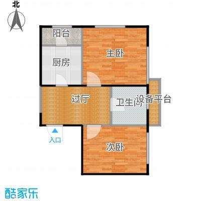 府上和平64.74㎡C6户型 两室一厅一卫户型2室1厅1卫