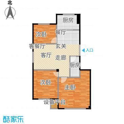 聚缘福地93.38㎡D三室两厅一卫93.38平米户型图户型3室2厅1卫