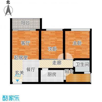 龙城国际龙福阁标准层03户型2室1卫1厨