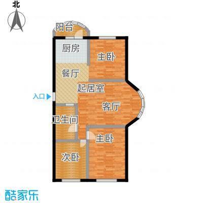 香洲心城三期117.00㎡21、22#C户型3室2厅1卫1厨117平米户型3室2厅1卫