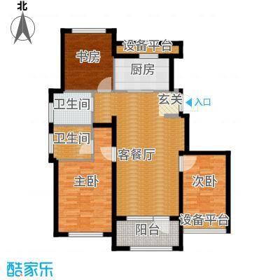 保亿丽景山116.16㎡A户型3室1厅2卫1厨