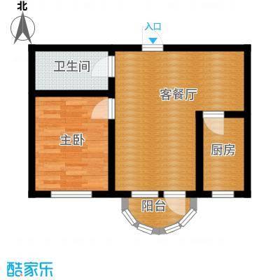 香洲心城三期58.00㎡21、22#A户型1室1厅1卫