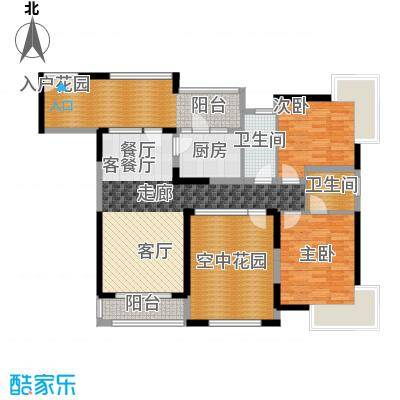 新世纪星城三期115.54㎡三期F3双数层户型2室1厅2卫1厨