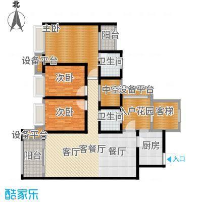 鸥鹏壹�公�119.84㎡D2洋房,三室两厅双卫,套内约104.54平米户型3室2厅2卫