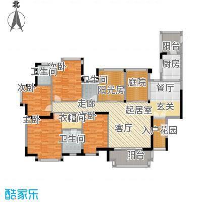 地标广场二期185.00㎡E8、9号楼01单位10、11号楼01\\02单位户型4室3卫1厨