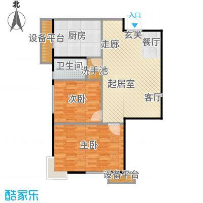 府上和平78.60㎡C2 两室两厅一卫户型2室2厅1卫