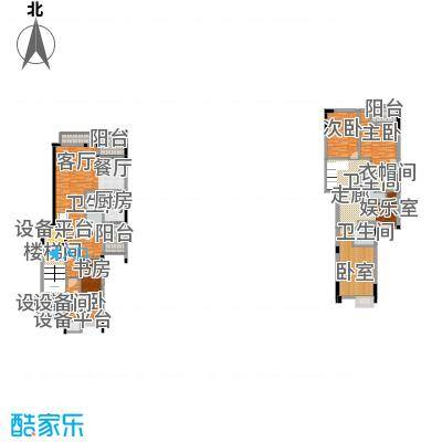 宏远御庭山199.00㎡叠加别墅(1-2层)户型5室2厅3卫