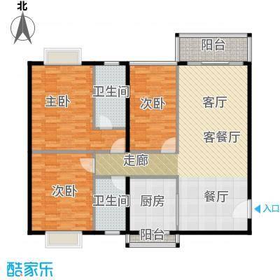 世纪新潮豪园114.68㎡标准层H户型3室1厅2卫1厨