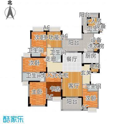 龙泉豪苑一期B10#-12#标准层户型4室1厅5卫1厨