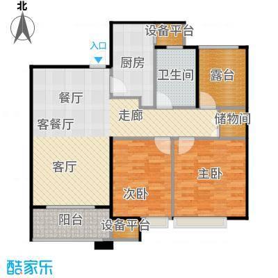 中海凤凰熙岸88.00㎡C1户型2室2厅1卫