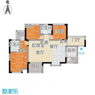 汇龙湾花园104.00㎡2号楼1单元A单位、2单元B单位户型3室2厅2卫