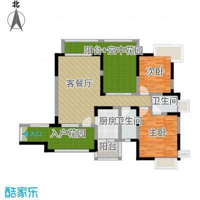 新世纪星城三期109.93㎡D3单数层户型2室1厅2卫1厨