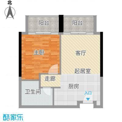 邦泰国际公寓68.00㎡11层12单元户型1室1卫