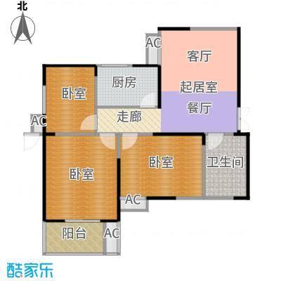 紫云溪91.55㎡B1户型3室1厅1卫