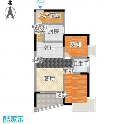 香樟国际C卫户型2室1厅1卫1厨