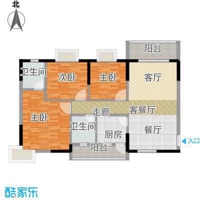 鼎盛中环108.38㎡户型3室1厅2卫1厨