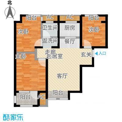 荣盛楠湖郦舍A-1户型3室1卫1厨