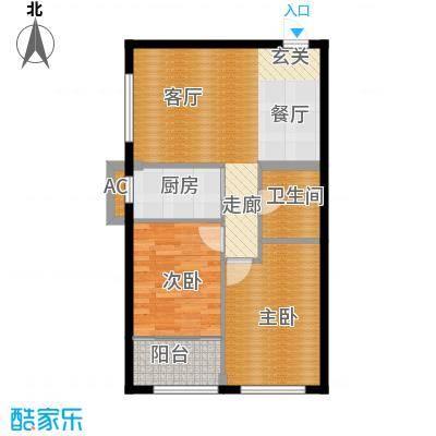 观山蝶恋花B1户型2室1卫1厨