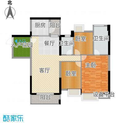 望龙轩128.56㎡1-2栋标准层04户型3室2厅2卫