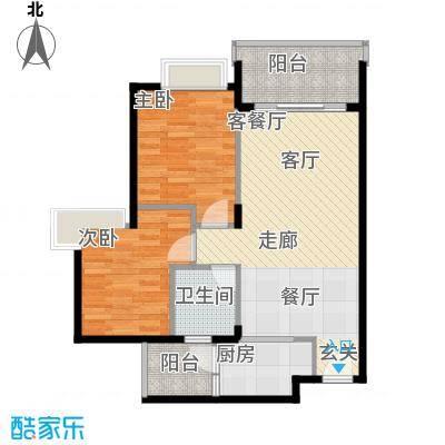 中惠�庭67.68㎡23栋0601单元标准层幸福之旅2室户型2室1厅1卫1厨
