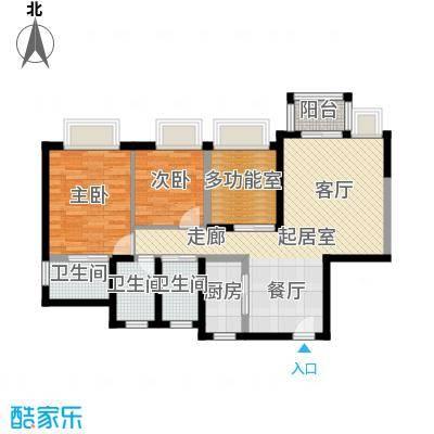 丰泰东海城堡90.00㎡D户型2室3卫1厨