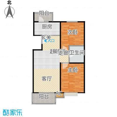 国信浅山E1户型二室二厅一卫户型
