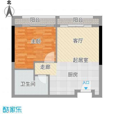 邦泰国际公寓60.00㎡12层12单元户型1室1卫