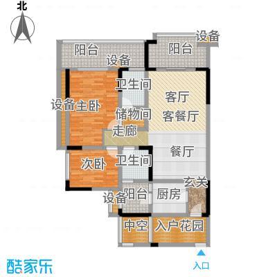 绿城上岛C-1户型两室两厅一厨两卫一书房 建筑面积112.57㎡户型2室2厅2卫