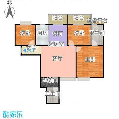 雅苑东方34号楼A1户型3室2卫1厨