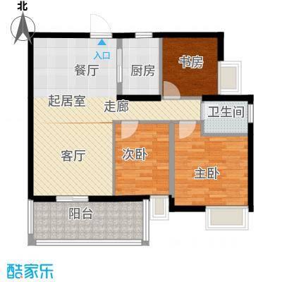 尚品雅居6栋偶数层01单元户型3室1卫1厨