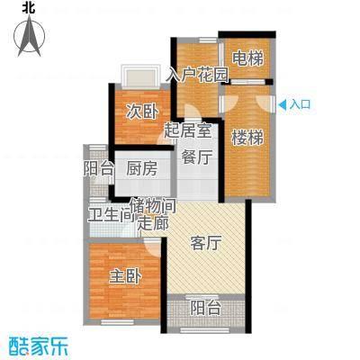 月亮湾3号88.00㎡I户型2室2厅1卫户型2室2厅1卫