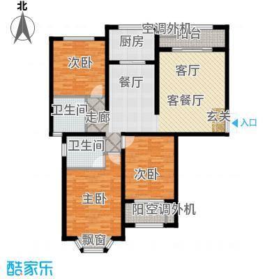 大名城122.00㎡B3户型43#、58#楼2房2厅2卫122平米户型2室2厅2卫