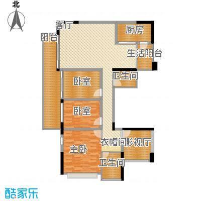 幸福城137.00㎡14栋03+04(偶数层)户型5室2厅2卫