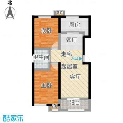 和泓四季恋城82.00㎡D1户型2室2厅1卫