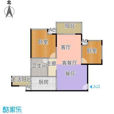 中海花城湾A5栋04单元户型1厅1卫1厨