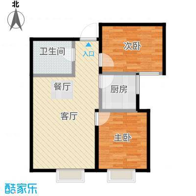 华润橡树湾75.00㎡三期小高标准层户型2室2厅1卫