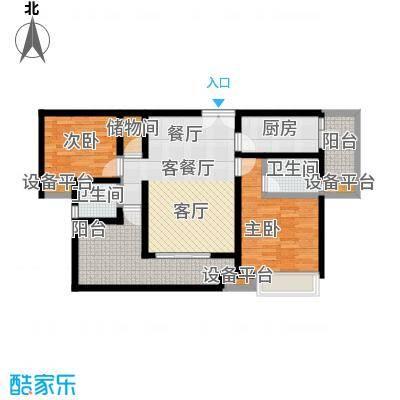 鸥鹏壹�公�97.01㎡C2洋房,两室两厅双卫,套内约82.76平米户型2室2厅2卫