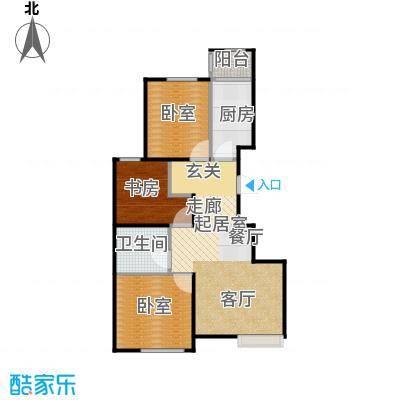 润枫领尚88.74㎡C顶层户型3室2厅1卫