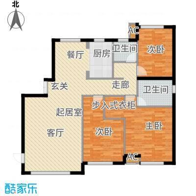 颐泊湾153.00㎡A-3三室二厅户型图户型3室2厅2卫QQ
