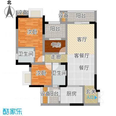 绿城上岛84.00㎡2-3号楼B1户型标准层3室2厅2卫1厨84.00㎡户型3室2厅2卫