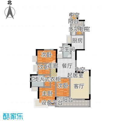 富力唐宁花园A1栋标准层02南朝向户型4室2卫1厨